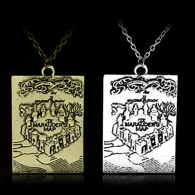 Hogwarts The Marauders Map I solemnly swear that I am up to no good Necklace