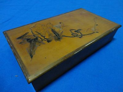 Vintage Wooden Box with Asian motif