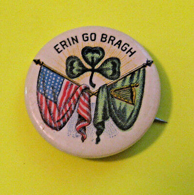 "Antique Vintage Erin Go Bragh ""ireland Forever"" Pin Pinback *nice Color Graphics"