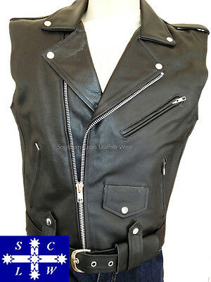 Men's Leather (Cowhide) Motorcycle Vest Brando Style Size S-6XL