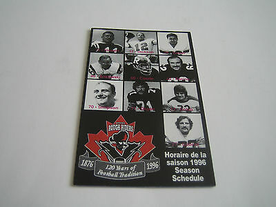 1996 Ottawa Rough Riders Cfl Pocket Schedule***120 Years Of Football***