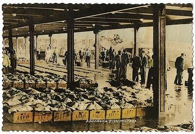 Old Colour Printed Postcard. The Fish Market, Aberdeen.   317