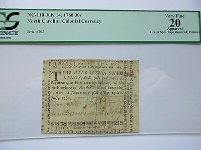 N. Carolina Colonial Currency 1760, 30s, PCGS VF-20 app, NC-110