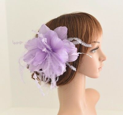 High Quality Wedding Bridal Hair Comb Feather Flower Comb Fascinator 30A (Lilac)