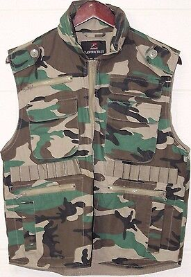ROTHCO FISHING MILITARY WOODLAND CAMO SHOOTING GUN Tactical Ranger Vest SZ S
