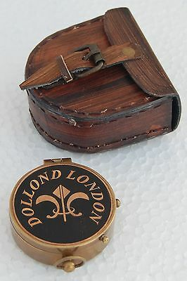 Antique Maritime Brass Robert Frost Poem Compass Pocket Compass W Leather Cover