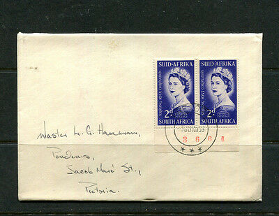 South Africa 1953 Fdc Coronation Pair With Control No. First Day Stamp Cover