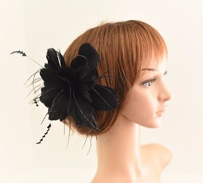 High Quality Wedding Bridal Hair Comb Feather Flower Comb Fascinator 30A (black)