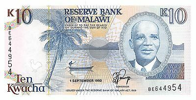 Malawi 10 Kwacha 1.9.1992 Series BE  Uncirculated Banknote G10d