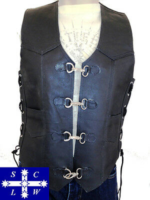 Men's Leather Motorcycle Vest with Metal Clasps