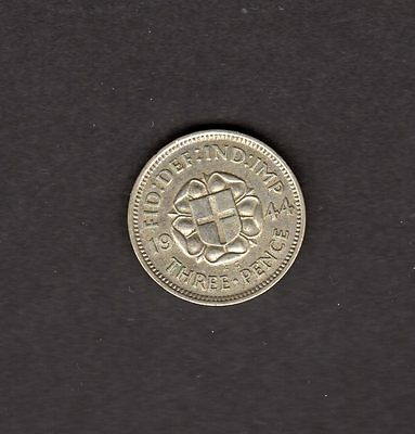 Great Britain UK 1944 3 Pence Coin - Great Looking AU or Better Coin!!!