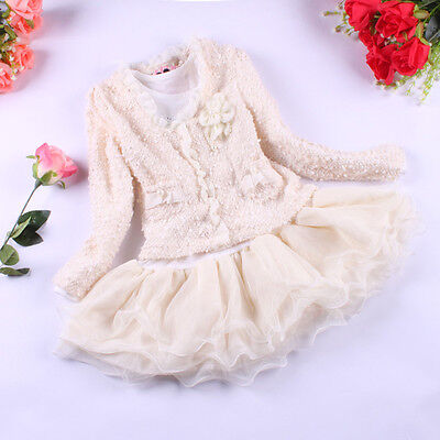 2PCS Toddler Kids Baby Girls Outfits Long Sleeve lace coat + dress Clothes Set