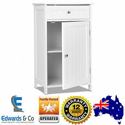 White Storage Cupboard Small Single Door Bedside Table Drawer Bathroom Laundry