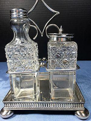 Antique Silverplate Stand. With Two Cruet Bottles