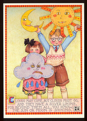 UNUSED 1991 Mary ENGELBREIT. GET WELL Greeting Card CLOUDS MAY COME +env