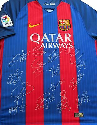 Barcelona Home 2016-17 Signed Football Shirt Soccer , Jersey Includes Coa