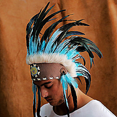 Native American Headdress War Bonnet Chief Indian Costume Turquoise Feathers