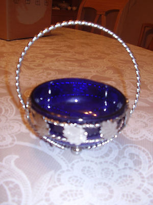 Pretty Vintage Cobalt Blue Glass and chrome sugar bowl