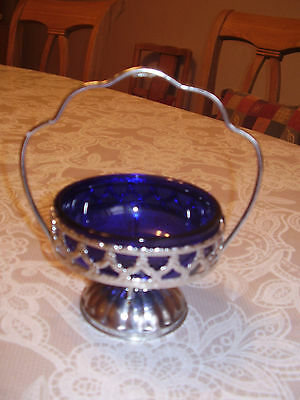 Vintage Cobalt blue glass and Chrome sugar Bowl