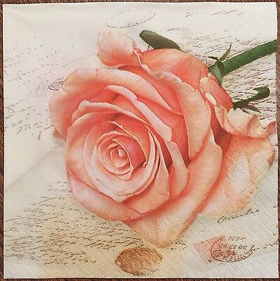 20 paper napkins Decoupage Crafts Collection Serviette Shabby Rose Flowers Notes