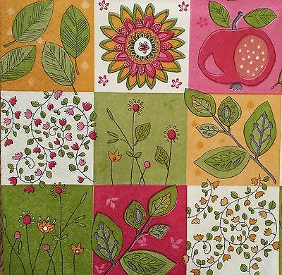 NEW! 2 single paper Napkins Decoupage Scrapbooking Craft Collection Flowers Leaf