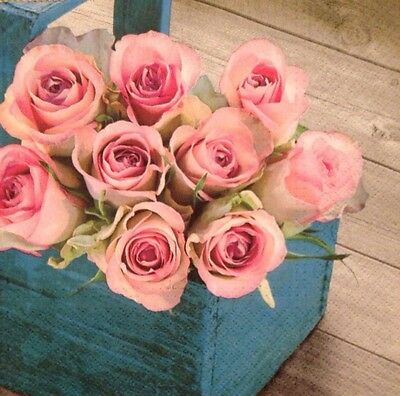 2 single paper napkin Decoupage collection ServiettenWood Roses in Wooden Basket