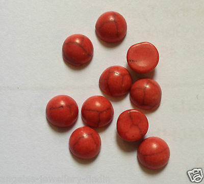 10 x Red Turquoise Stone Cabochons - approx 6 mm