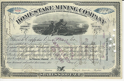 1899 Homestake Mining Company Stock Certificate Lloyd Tevis Signed LAST SIGNED