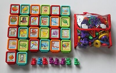 Lot of Plastic Magnetic Letters w/ Bag + Alphabet Pictures + Counting Bears Kids