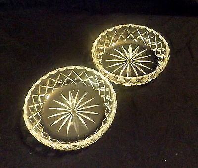 Pair Of Cut Glass Bowls With Star Pattern. Size 10 x 3 cm.