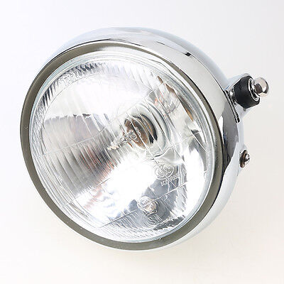 """Universal Motorcycle 6""""Front  Round Racing Side Bulb Motorbike Crystal Headlight"""