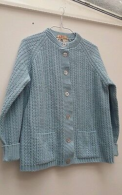 Vintage 1960s baby blue chunky cardigan - size small to medium