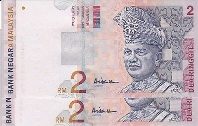 MALAYSIA 2 RINGGIT ( 1996-99 ) UNC BANKNOTE 10  Pcs R/Nos