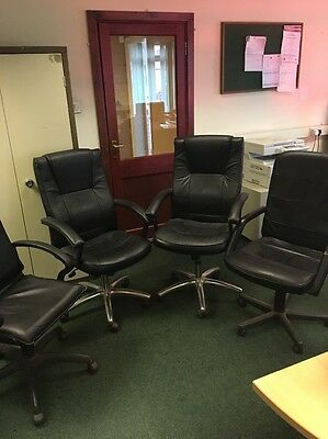 4 X Black Leather Office Chairs