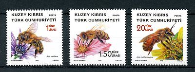 Turkish Northern Cyprus 2016 MNH Bees 3v Set Apis Insects Stamps