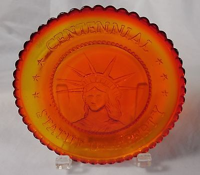 Pairpoint Vintage AMBER Glass CENTENNIAL STATUE OF LIBERTY Cup Plate 1886 - 1986
