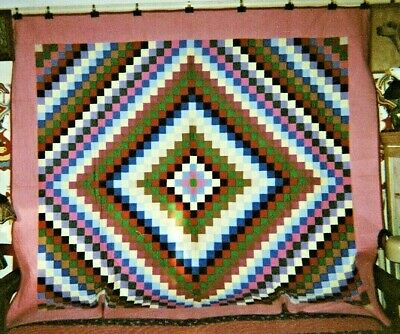 Amish SUNSHINE AND SHADOW Antique Quilt, Ohio, c 1930, Cottons, King sized