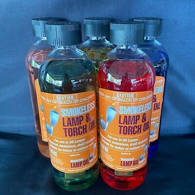 Lamp Oil -  5 x 1 Litre Bottles - Scented and Coloured for Oil Lamps