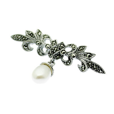 Pearl & Marcasite Pin Brooch Solid Sterling Silver Freshwater Pearl Gift Boxed