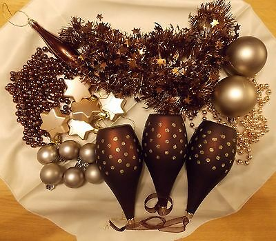 Lot C - Brown & Gold Christmas Tree Decoration Bundle - Used