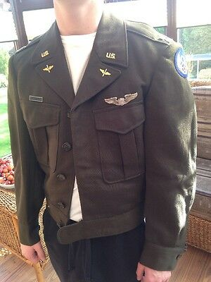 Original WW2 USAAF US 8th Army Air Force Ike Jacket Amcraft Pilot Captain Wing
