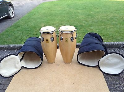 Pair of Toca congas with cases + pair of bongos