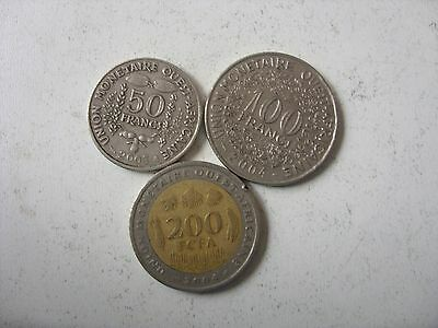 Lot Of 3 Western Africa Coins 50-200 Francs Rare!!!!
