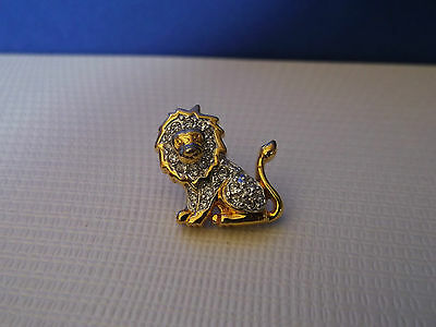 Crystal LION Pin / Brooch - Gold plated