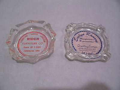 Lot of 2 Vintage Ashtrays-RIDER FURNITURE-EVELYN RAMSAY LAMPS-IOWA-Junk Drawer