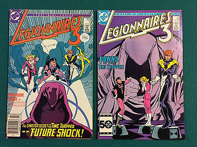 Legionnaires 3  1985  1 & 2 NIce shape, Note stamp and sticker DC Comics