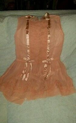 Pretty 1920's little girl's pleated ruffled pink dress with silk ribbon