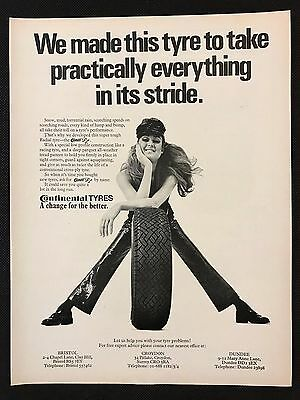 Vintage 1970 Motor Sport Magazine Advert - CONTINENTAL TYRES, Girl with Tyre