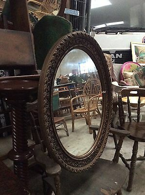 Large Heavy Vintage Retro Oval Wood & Plaster Frame Bevelled Glass Wall Mirror