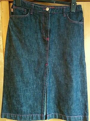 Vintage fcuk denim skirt with pink neon stitching. 90's. size 8.